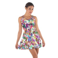 Colorful spirals on a white background             Cotton Racerback Dress