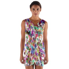 Colorful spirals on a white background                Wrap Front Bodycon Dress