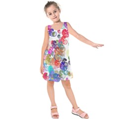 Colorful spirals on a white background            Kid s Sleeveless Dress