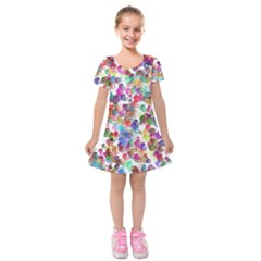 Colorful spirals on a white background                 Kids  Short Sleeve Velvet Dress