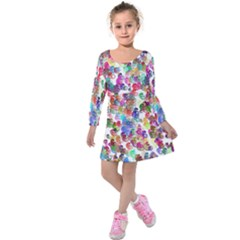 Colorful spirals on a white background         Kids  Long Sleeve Velvet Dress