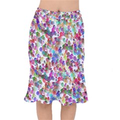 Colorful spirals on a white background                 Short Mermaid Skirt