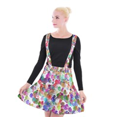 Colorful spirals on a white background          Suspender Skater Skirt