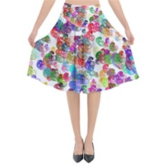 Colorful spirals on a white background          Flared Midi Skirt