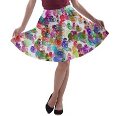 Colorful spirals on a white background             A-line Skirt