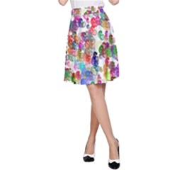 Colorful spirals on a white background             A-line Skater Skirt