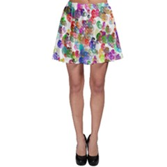 Colorful spirals on a white background             Skater Skirt