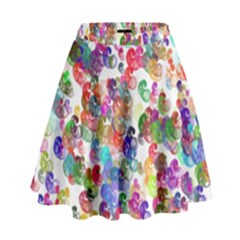 Colorful spirals on a white background               High Waist Skirt