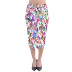 Colorful spirals on a white background               Velvet Pencil Skirt