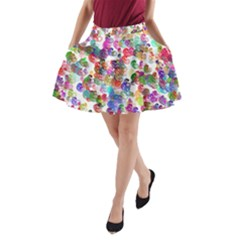 Colorful spirals on a white background             A-Line Pocket Skirt