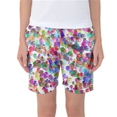 Colorful spirals on a white background       Women s Basketball Shorts