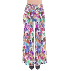 Colorful spirals on a white background       Women s Chic Palazzo Pants