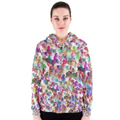 Colorful spirals on a white background             Women s Zipper Hoodie