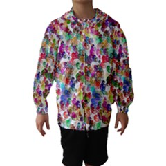 Colorful spirals on a white background             Hooded Wind Breaker (Kids)