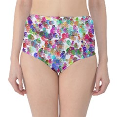 Colorful spirals on a white background             High-Waist Bikini Bottoms