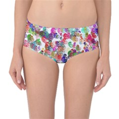 Colorful spirals on a white background             Mid-Waist Bikini Bottoms