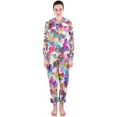 Colorful spirals on a white background             Hooded Jumpsuit (Ladies)