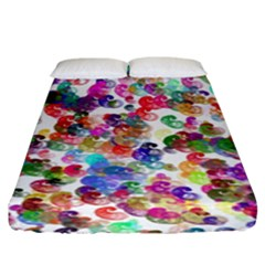 Colorful spirals on a white background            Fitted Sheet (King Size)