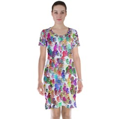 Colorful spirals on a white background             Short Sleeve Nightdress