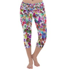 Colorful spirals on a white background              Capri Yoga Leggings