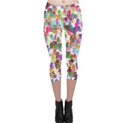 Colorful spirals on a white background             Capri Leggings