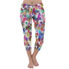 Colorful spirals on a white background             Capri Winter Leggings