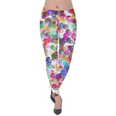 Colorful spirals on a white background             Velvet Leggings