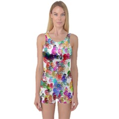 Colorful spirals on a white background             Women s Boyleg One Piece Swimsuit