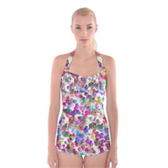 Colorful spirals on a white background                    Boyleg Halter Swimsuit