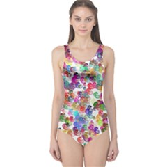 Colorful spirals on a white background             Women s One Piece Swimsuit