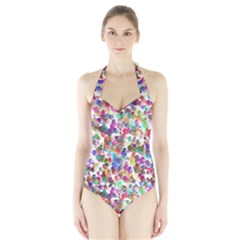 Colorful spirals on a white background             Women s Halter One Piece Swimsuit