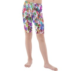 Colorful spirals on a white background       Kid s Swim Shorts