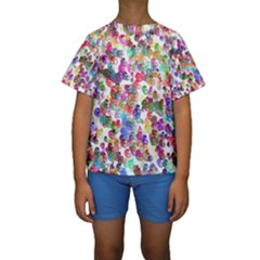 Colorful spirals on a white background              Kid s Short Sleeve Swimwear