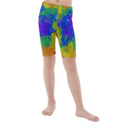 Colorful Paint Texture     Kid s Swim Shorts by LalyLauraFLM