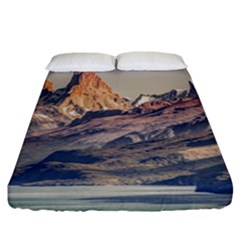 Fitz Roy And Poincenot Mountains Lake View   Patagonia Fitted Sheet (california King Size) by dflcprints