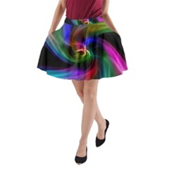Abstract Art Color Design Lines A Line Pocket Skirt by Nexatart