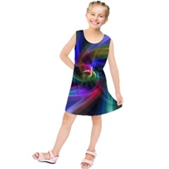 Abstract Art Color Design Lines Kids  Tunic Dress