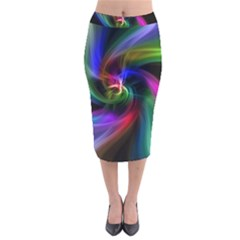 Abstract Art Color Design Lines Velvet Midi Pencil Skirt