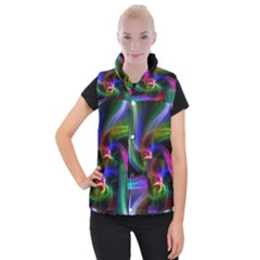 Abstract Art Color Design Lines Women s Button Up Puffer Vest