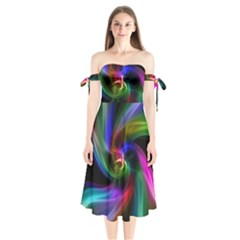Abstract Art Color Design Lines Shoulder Tie Bardot Midi Dress