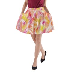 Pretty Painted Pattern Pastel A Line Pocket Skirt by Nexatart
