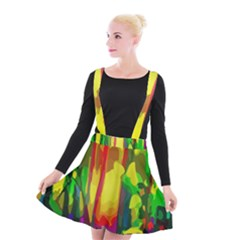 Abstract Vibrant Colour Botany Suspender Skater Skirt