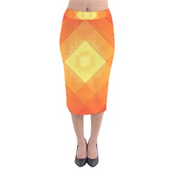Pattern Retired Background Orange Velvet Midi Pencil Skirt