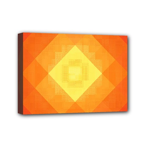 Pattern Retired Background Orange Mini Canvas 7  X 5  by Nexatart