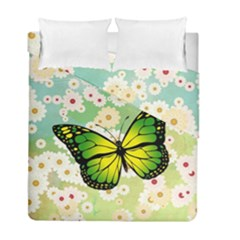 Green Butterfly Duvet Cover Double Side (full/ Double Size) by linceazul