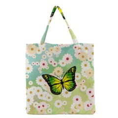 Green Butterfly Grocery Tote Bag by linceazul