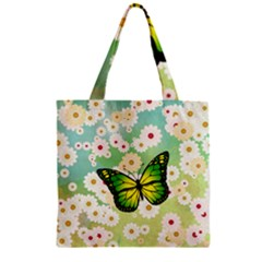 Green Butterfly Zipper Grocery Tote Bag by linceazul