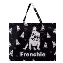 Frenchie Zipper Large Tote Bag by Valentinaart