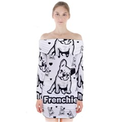 French Bulldog Long Sleeve Off Shoulder Dress by Valentinaart