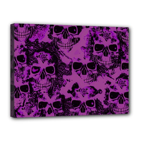 Cloudy Skulls Black Purple Canvas 16  X 12  by MoreColorsinLife